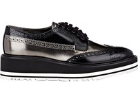 Prada Women's Wingtip Brogue Platform Sneakers Black