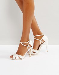 True Decadence Ivory Strappy Bow Heeled Sandals White