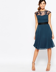 Elise Ryan Midi Prom Dress With Sweetheart Lace Top Navyblack