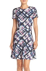Eliza J Petite Women's Print Ponte Fit And Flare Dress Black Navy Pink Blue
