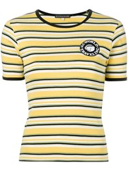 Alexachung Alexa Chung Logo Patch Striped T Shirt Yellow