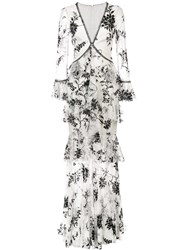 Marchesa Notte Embroidered Floral Lace Dress White