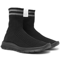 Maison Martin Margiela Hand Painted Striped Stretch Knit Sneakers Black