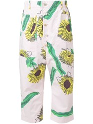 Julien David Sunflower Print Cropped Trousers Pink And Purple