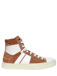 Amiri Sunset Suede High Top Sneakers Tan White