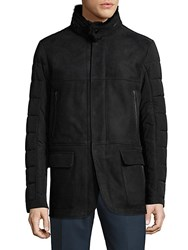 Saks Fifth Avenue Hooded Quilted Leather Jacket Black
