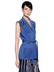 Peter Pilotto Embroidered Detail Pinstriped Crepe Vest