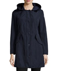Moncler Argeline Long Sleeve Zip Front Coat Navy