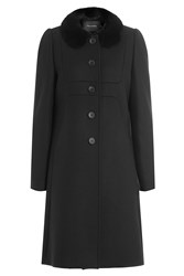 Tara Jarmon Coat With Contrast Round Collar Black
