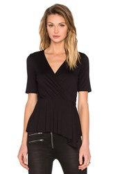 Three Dots Dacey Wrap Top Black
