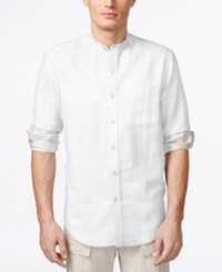 Tasso Elba Island Banded Collar Textured Striped Shirt White