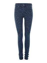 Dr. Denim Plenty High Rise Skinny Zebra Jeans In Mid Sky Zebra Print