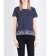 French Connection Altman Floral Print Crepe Top Indigo Multi