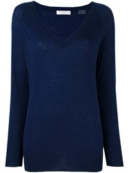Equipment V Neck Fine Knit Jumper Blue