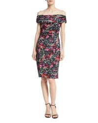David Meister Floral Off The Shoulder Knee Length Dress Black