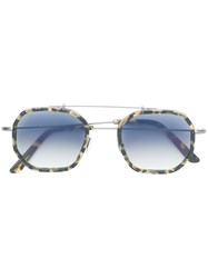 L.G.R Tortoiseshell Square Sunglasses Metallic