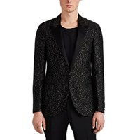Lanvin Satin Trimmed Sequined One Button Tuxedo Jacket Black