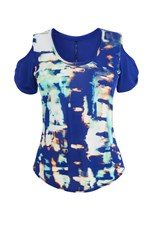 Karen Millen Cut Out Shoulder Tee Blue Multi