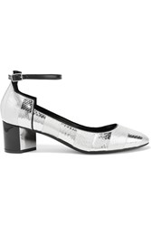 Pierre Hardy Belle Striped Metallic Watersnake Pumps Silver