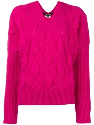 Comme Des Garcons Junya Watanabe Cable Knit Jumper Pink Purple