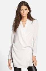 Women's Astr Long Sleeve Wrap Tunic Blouse Ivory