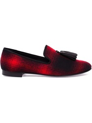 Giuseppe Zanotti Design Tasselled Tartan Loafers Red