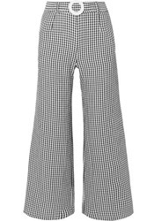 Solid And Striped Belted Cropped Gingham Seersucker Wide Leg Pants Black