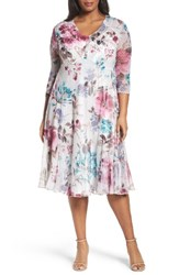 Komarov Plus Size Women's Floral Chiffon And Charmeuse A Line Dress