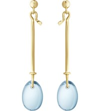Georg Jensen Dew Drop 18Ct Yellow Gold And Topaz Earrings