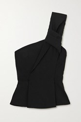 Roland Mouret Whitefield One Shoulder Knotted Crinkled Cady Peplum Top Black