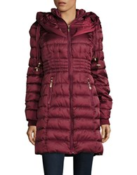 Betsey Johnson Long Puffer Coat Ruby