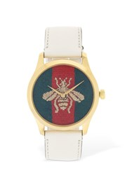 Gucci Embroidered Bee Leather Watch Array 0X57a39b0