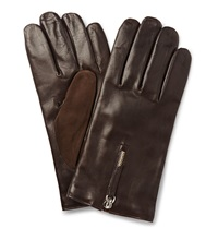 Want Les Essentiels Cashmere Lined Leather And Suede Gloves Brown