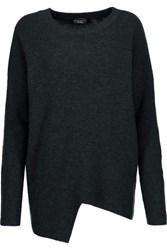 Magaschoni Asymmetric Ribbed Wool And Cashmere Blend Sweater Charcoal