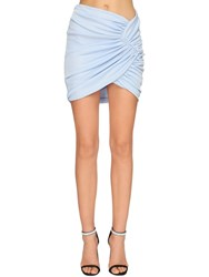 Alexandre Vauthier Draped Rib Jersey Lame Skirt Light Blue