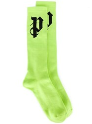 Palm Angels 'P' Knit Socks Green