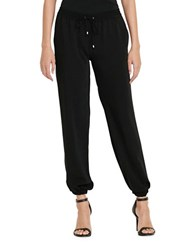 Lauren Ralph Lauren Petite Solid Elasticized Cuffs Jogger Pants Polo Black