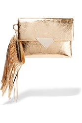 Sara Battaglia Teresa Fringed Python Effect Leather Clutch Metallic