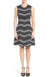 Women's Pink Tartan Chevron Pattern Sleeveless Knit Fit And Flare Dress