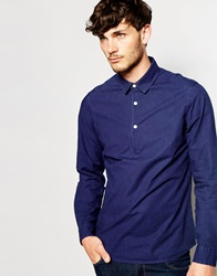 Asos Shirt With 3 4 Placket In Long Sleeve Navy