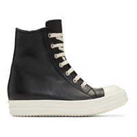 Rick Owens Black And Off White Leather High Top Sneakers