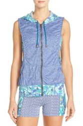 Maaji Malibu Creek Hoodie Vest And Sports Bra Blue