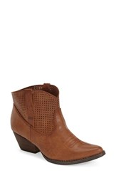 Women's Very Volatile 'Mishka' Perforated Western Bootie Brown Faux Leather