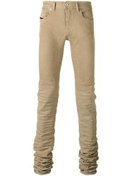 Diesel Black Gold Long Crumpled Leg Skinny Jeans Nude Neutrals