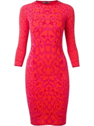Alexander Mcqueen Leopard Print Bodycon Dress Pink And Purple