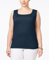 Karen Scott Plus Size Cotton Square Neck Tank Top Only At Macy's Intrepid Blue