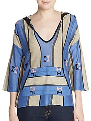 Twelfth St. By Cynthia Vincent Baja Striped Hoodie Sweater Blue Multi