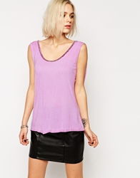 Religion Vest Top With Metallic Trim Smokeygrape