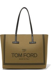 Tom Ford T Medium Leather Trimmed Printed Cotton Canvas Tote Army Green