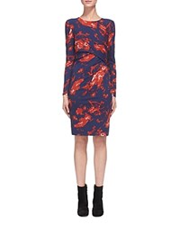 Whistles Brushed Floral Dress Red Multi